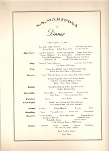 Mariposa Dinner Menu July 13 1941
