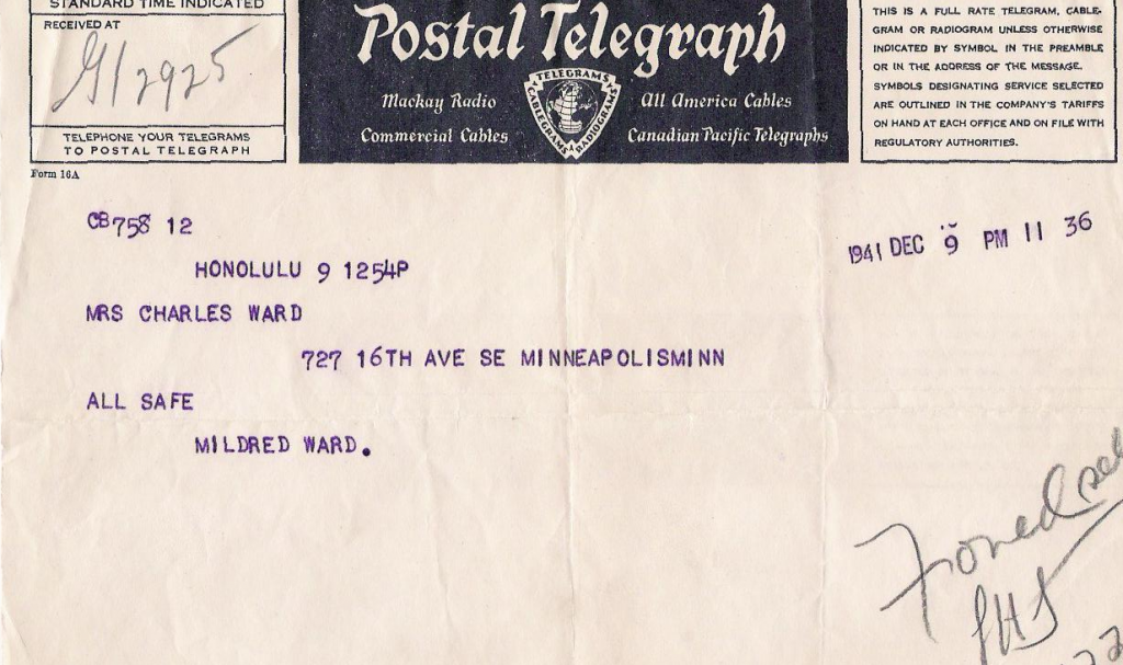 Milly's telegram home