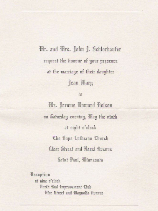 Jerry and Jean's Wedding Invitation