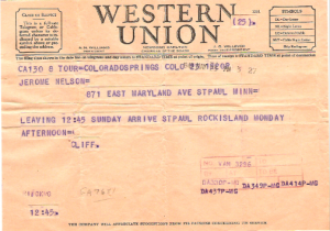 Telegram from Cliff