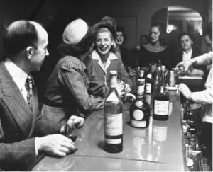 Drinking at the bar, 1940s
