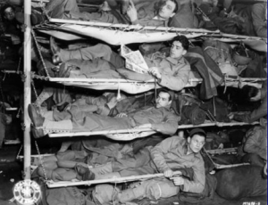 8th Division soliders crammed in ship