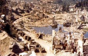 US Convoy Crosses Through Ruins Of Saint-Lo